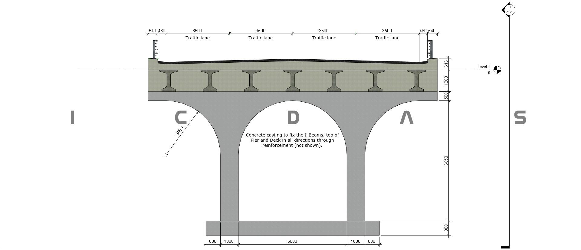 485003 Beam Bridge Diagram Figure Revit Center Pier